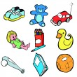Collection of children's traditional toys - Stock Vector