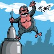 Cartoon King Kong hanging on a skyscraper — 图库矢量图片