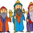 Cartoon of the three wise men — Stock Vector