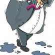 Cartoon of a fat man caught in the wind — 图库矢量图片