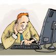 Stock Vector: Cartoon mstaring with concern at his monitor