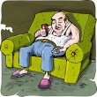 Cartoon of lazy drinking man on a couch with TV remote — Stock Vector