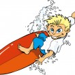 Cartoon surfer boy riding a surf board — Stock Vector