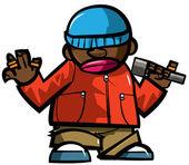 Cartoon hip hop man with microphone. — Stock Vector