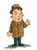 Cartoon of man in a coat and hat waving — Vector de stock