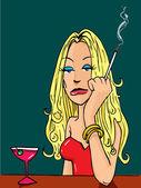 Cartoon woman smoking at the bar — Stock Vector