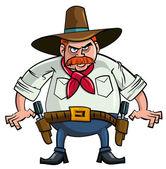 Fat cartoon cowboy ready to draw — Stock Vector