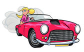 Cartoon of blonde girl driving a sports car — Stock Vector