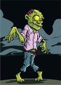 Cartoon zombie with cloudy night sky — Stock Vector