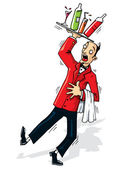 Cartoon waiter about to spill the drinks — Stock Vector