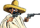 Cartoon Mexican with guns — Stock Vector
