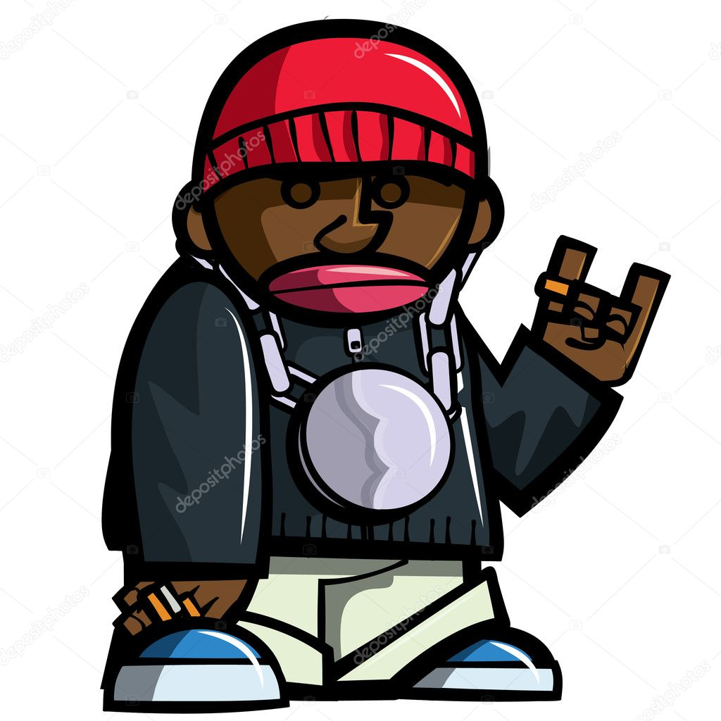 Cartoon hip hop man with bling. Isolated on white — Stock Vector #7781281
