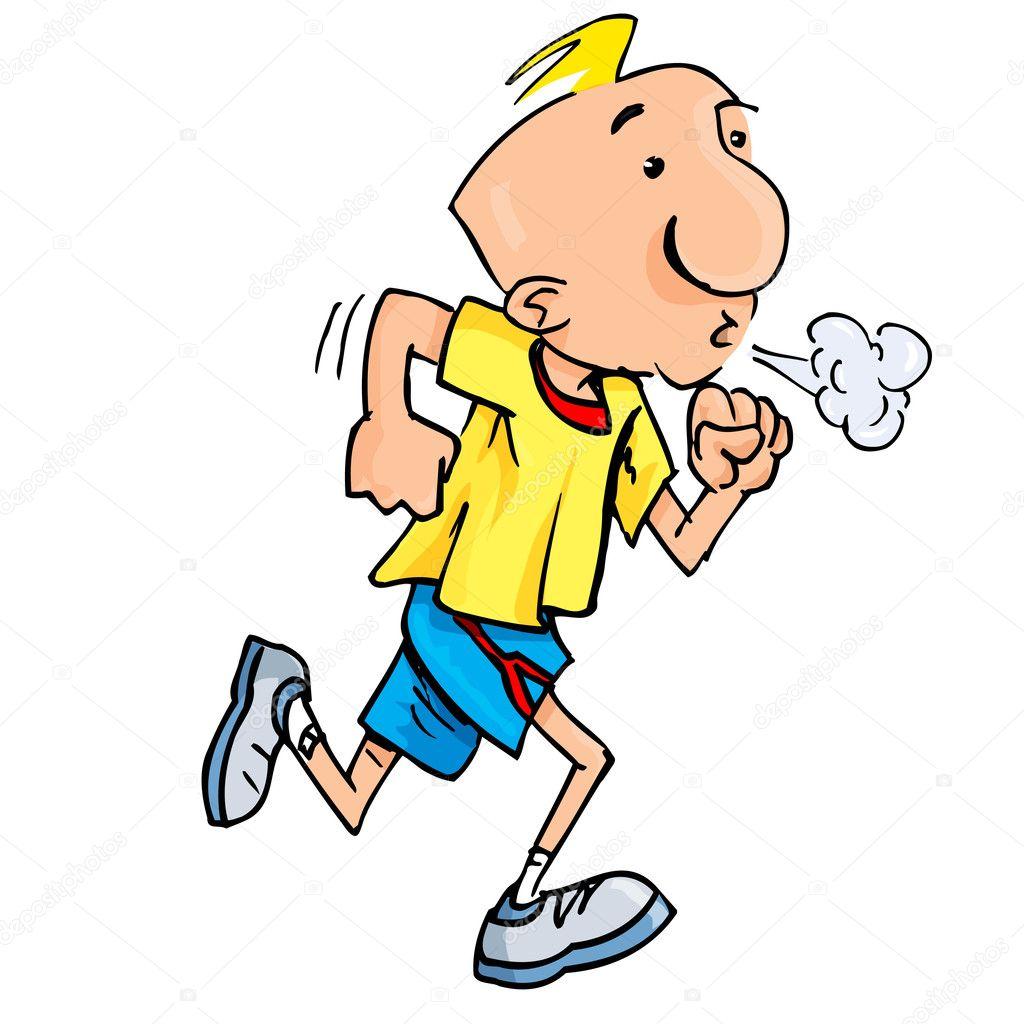 Cartone animato di un uomo da jogging sbuffando fatica