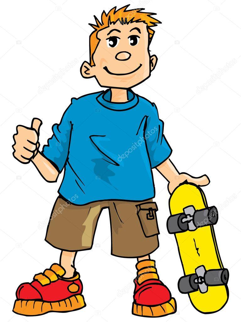 Caricatura de un niño con una patineta — archivo imágenes