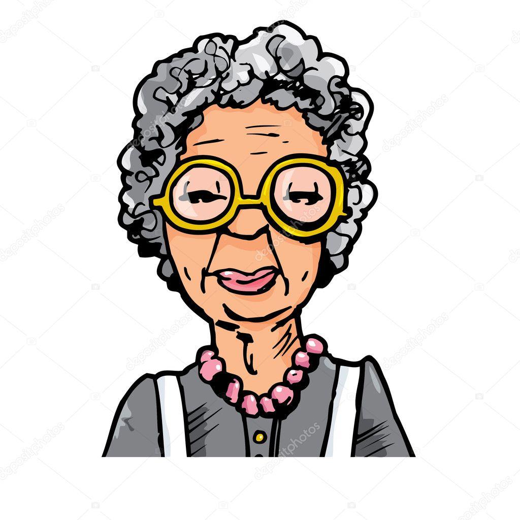Cartone animato di una vecchia signora con gli occhiali
