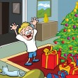 Cartoon kid on Christmas morning opening gifts — Stock Vector