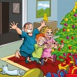 Royalty-Free Stock Vector Image: Cartoon kids running toward christmas tree