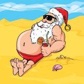 Cartoon santa sur la plage — Vecteur