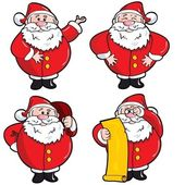 Set of Cartoon Santa — Stock Vector