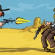 Stock Vector: Cartoon cowboy shootout