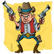 Cute cartoon cowboy holding sixguns — Stock Vector