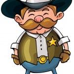 Cute cartoon cowboy with a gun belt — Stock Vector
