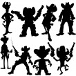 Stock Vector: Set of cowboy silhouettes