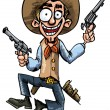 Cartoon cowboy jumping up and down with six guns — Stock Vector