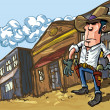 Cartoon cowboy casts a shadow - Stock Vector
