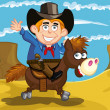 Stock Vector: Cartoon cowboy on a horse