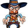 Cartoon cowboy ready to draw his guns - Stock Vector