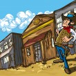 Cartoon cowboy in a western old west town — Stock Vector