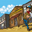 Cartoon cowboy in a western old west town - Stock Vector