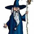 Royalty-Free Stock Vector Image: Cartoon Wizard with staff