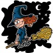 Cartoon witch on a broom — Imagens vectoriais em stock