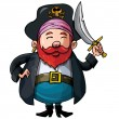 Cartoon pirate with a sword - Stock Vector