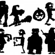 Stock Vector: Silhouette set of Halloween characters