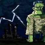 Cartoon Frankenstein monster in a night scene — Stock Vector