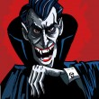 Cartoon vhead and shoulders of a evil vampire — Imagens vectoriais em stock
