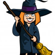 Royalty-Free Stock Vector Image: Cartoon of little girl in a witches costume