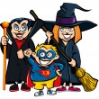Royalty-Free Stock Vector Image: Cartoon of group of kids in Haloween costumes