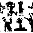 Collection of silhouette halloween characters — Stock Vector #7883497