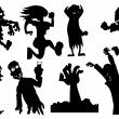 Stock Vector: Collection of silhouette halloween characters
