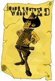 Cartoon wollte poster von cowboy — Stockvektor