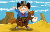 Cartoon cowboy on a horse — Stock Vector