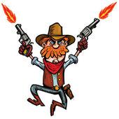 Cartoon cowboy jumping up and down with six guns — Stock Vector