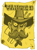 Cartoon cowboy wanted poster — Stock Vector