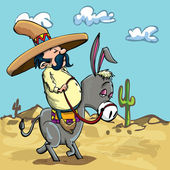 Cartoon Mexican riding a donkey in the desert — Stock Vector