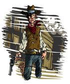 Cowboy gunslinger draws his six shooter — Stock Vector