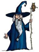 Cartoon Wizard with staff — Stock Vector